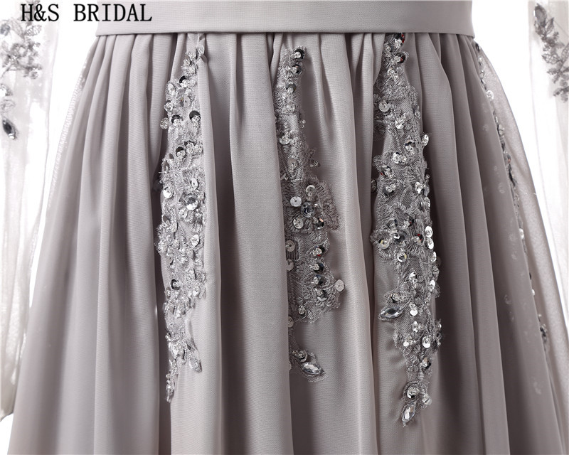 H&s bridal long sleeve evening dress gray lace applique evening