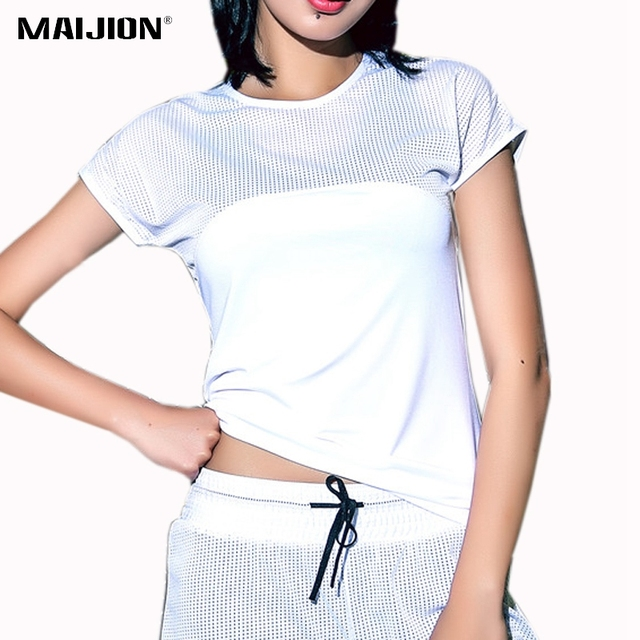 0796a5a5bab42 MAIJION 3 Colors Sexy Mesh Breathable Yoga Shirts Women Quick Dry Fitness Sports  T Shirt Gym