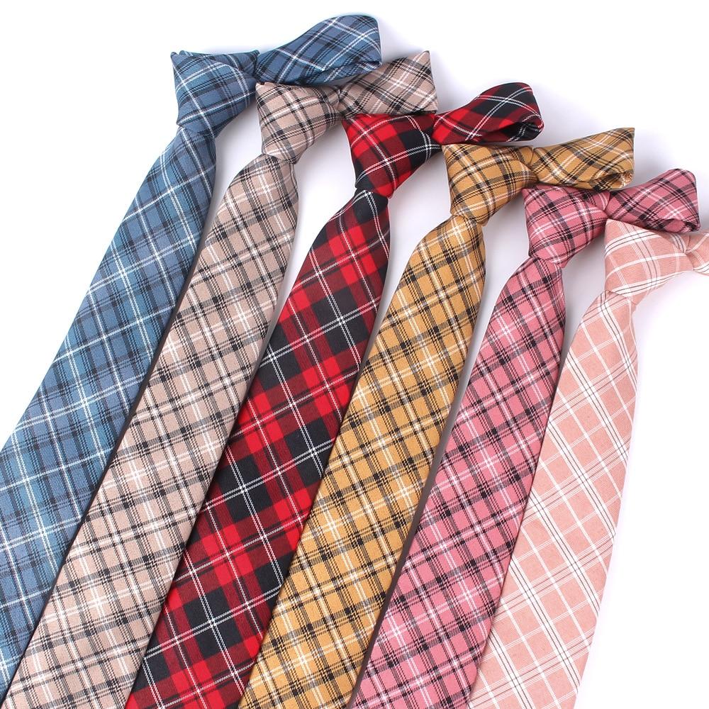 Red Plaid Ties For Men Skinny Men Neck Tie For Wedding Business Casual Check Neckties Classic Suits Slim Neck Ties Gravatas