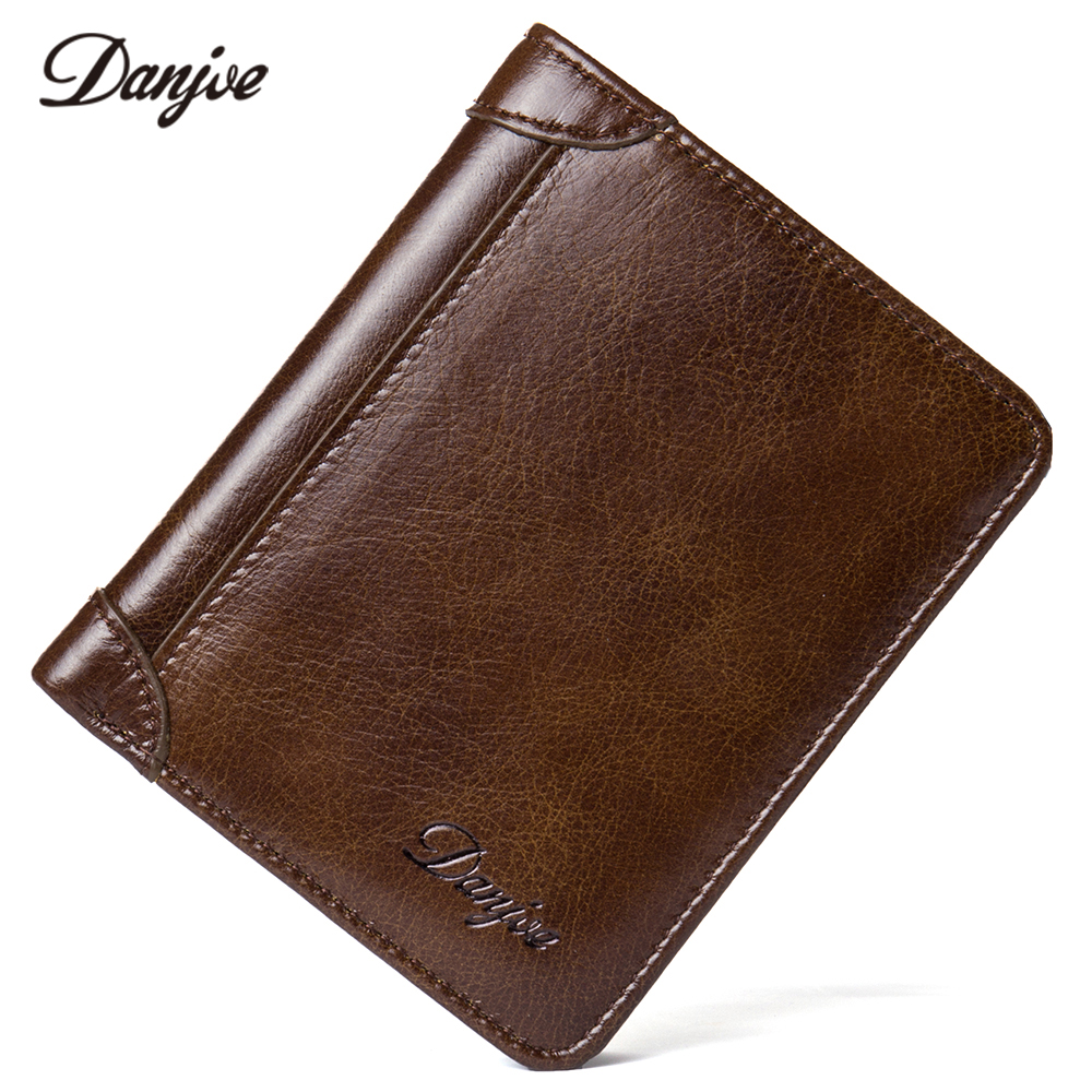 DANJUE Fashion Men's Wallets Genuine Leather Trifold Vintage High Quality Purse Men Designer New Arrival Money Holder Pocket