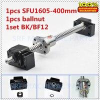1 pcs 16mm diameter Rolled Ball Schroef SFU1605 L = 400mm C7 + 1 pcs SFU1605 bal moer + 1 set BK/BF12 Kogelomloop end ondersteuning voor CNC onderdelen
