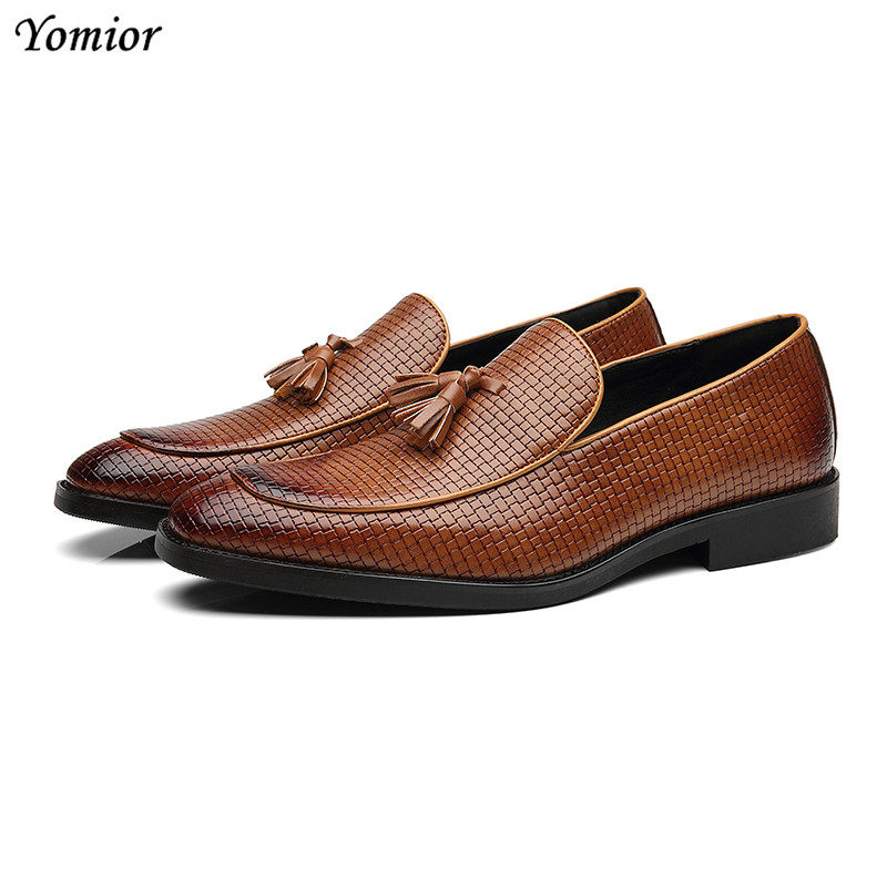 Men's Shoes Adaptable Yomior Autumn New Men Flats Fashion Wedge Weaving Business Leather Shoes Big Size Casual Formal Dress Oxfords Chaussure Homme Quality And Quantity Assured