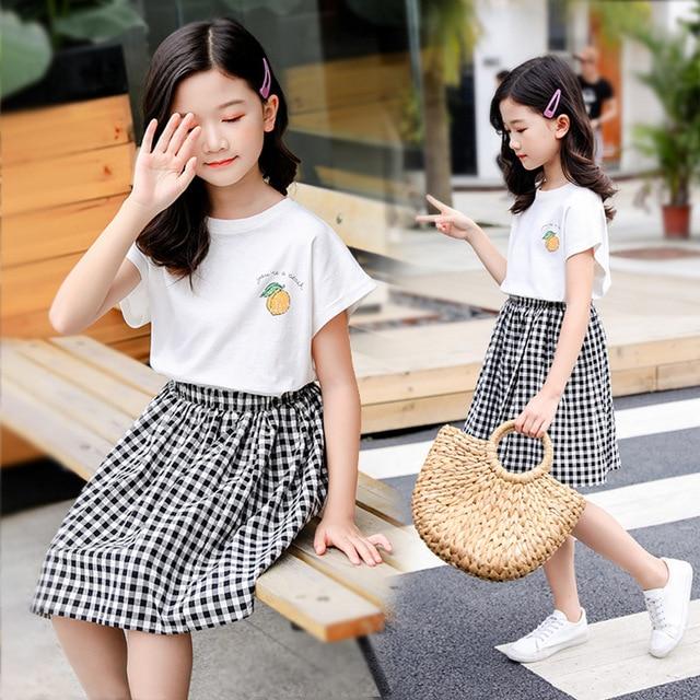 8be9b3d17 2019 chicas adolescentes ropa 10 12 año trajes niñas nueva moda Niño niños  de bebé camisetas + Plaid faldas