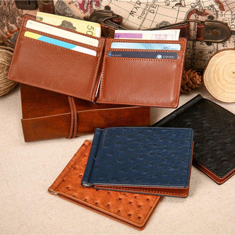 Slim struts mönster läder Mäns pengar klipp plånbok med 4 kort - Plånböcker - Foto 5