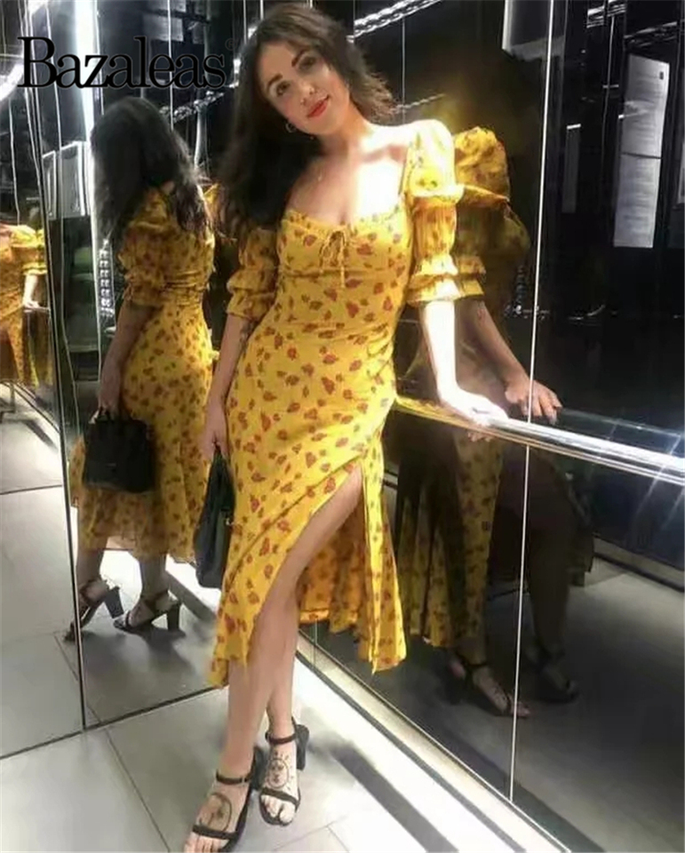 6d5cb63e70eed Bazaleas Vintage Bust tie in front Dresses vestidos Yellow Floral print  Split summer Dress Lantern Sleeve midi Dress