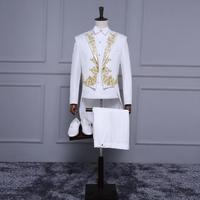 White Embroidered Tuxedo Blazer Men Formal Dress Suit Men Stage Costume Homme Marriage Wedding Suits For