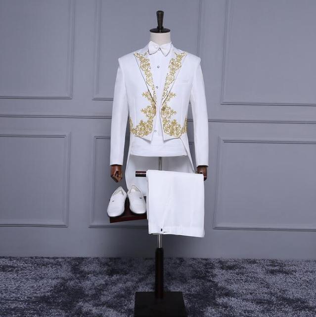 Branco bordado smoking blazer homme dos homens formais homens vestido de terno traje do estágio do casamento casamento ternos para homens jacket + calça + gravata