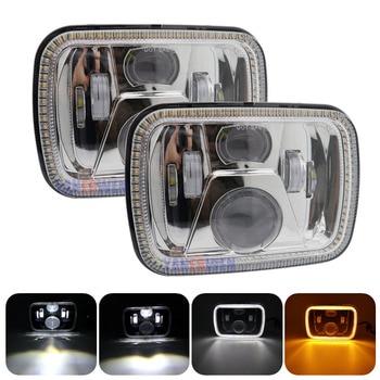 7x6 5x7 LED headlights with turn signals DRL halo sealed beam projector headlights H6054 6054 headlights ForJeep Wrangler YJ