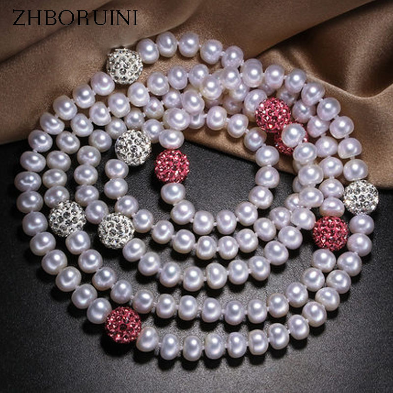 ZHBORUINI 2017 Fashion Long Multilayer Pearl Necklace Natural Freshwater Pearl Crystal Balls Women Necklace Jewelry For Women zhboruini fashion long multilayer pearl necklace freshwater pearl tassels women accessories statement necklace jewelry for women
