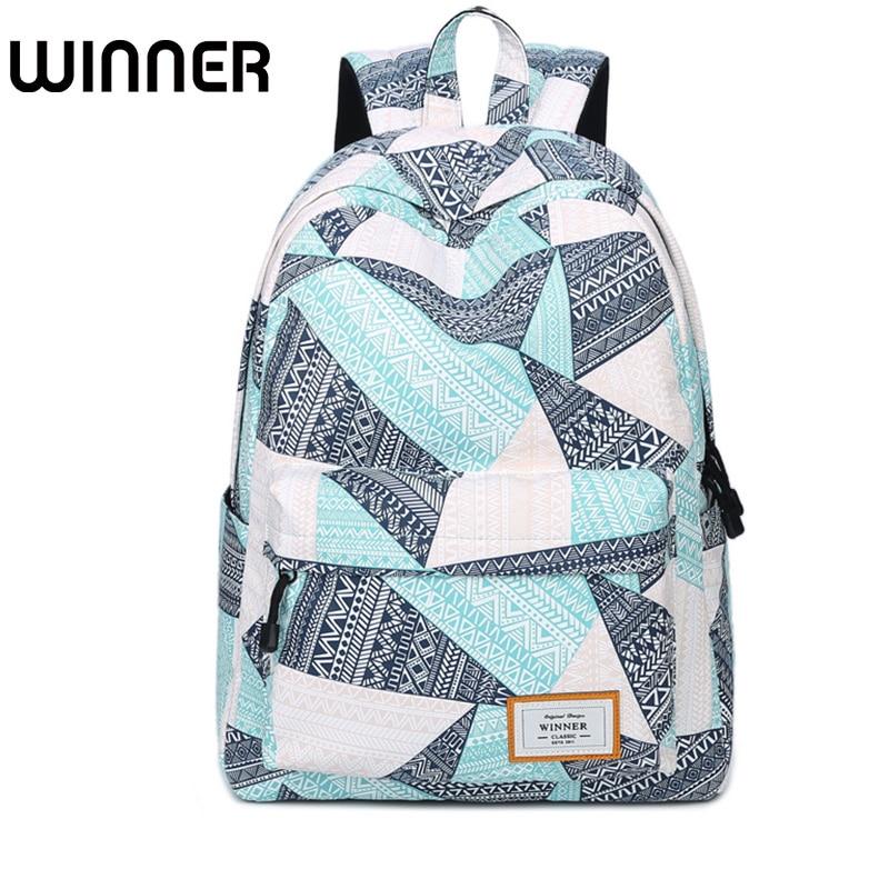 Fashion Waterproof Polyester Women Backpack Blue Personalized Geometric Printing Lady Large Capacity College Daily Mochila цена