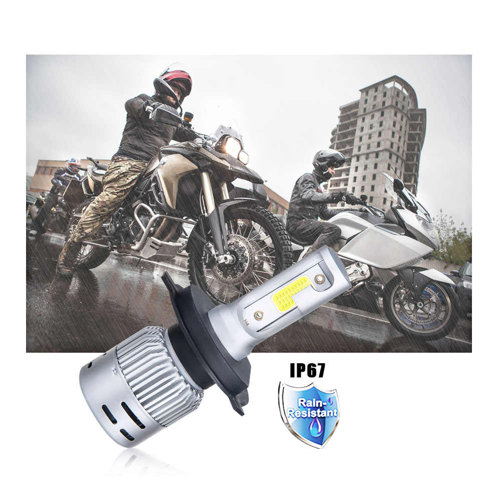 VooVoo H4 LED Motorcycle Headlight Bulb HS1 LED Moto Scooter Light Hi/Lo 4300K 6500K Motor Bike Headlamp 3000K 8000K DC 12V