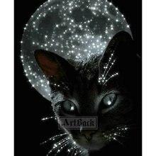 5d diy Алмазная картина черная кошка Луна полная квадратная дрель Алмазная вышивка 3d Хрустальная мозаика украшение животных произведение искусства