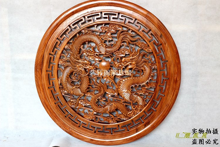 Dongyang woodcarving doors and Windows partition wall hanging screen Chinese antique wood circular pendant 80cm ShuanglongxizhuDongyang woodcarving doors and Windows partition wall hanging screen Chinese antique wood circular pendant 80cm Shuanglongxizhu