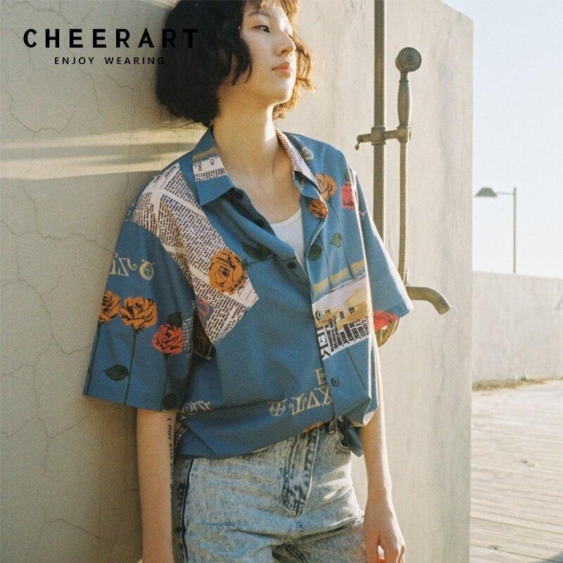 Cheerart Vintage Shirt Women 2018 Summer Blouse
