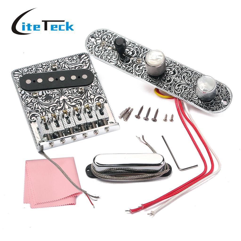 High quality Electric Guitar Bridge 6 Saddle String Bridge Pickup Set with 3 Way Switch Control