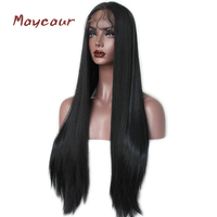 Long Straight Synthetic Lace Front Wig Glueless Heat Resistant Natural Hair Wigs For Women 180 Density