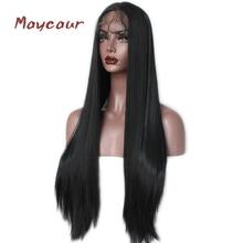 Довга пряма синтетична мережива фронтова перук без глазурі термостійкі натуральний парики для волосся для жінок 180 щільності