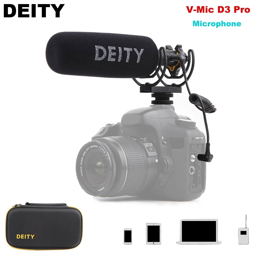 Deity V Mic D3 Pro Super Cardioid Condenser Microphone On Camera Recording Mic with Bag for DSLR Camera DV Camcorders Smartphone