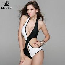 Summer One Piece Swimsuit For Women Sexy Backless Monokini Contrast Color Plus Size S-XXL Push Up Brazilian Swimwear