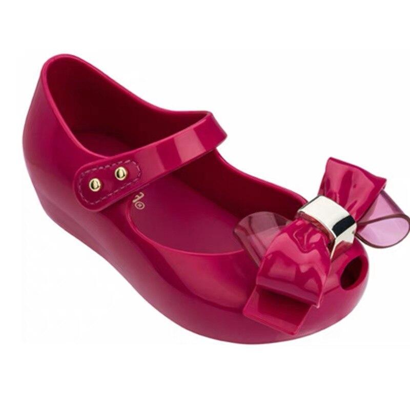 Mini Melissa  2019 New Original Girl Jelly Sandals Bowtie Kids Sandals Children Beach Shoes Non-slip Toddler Shoes