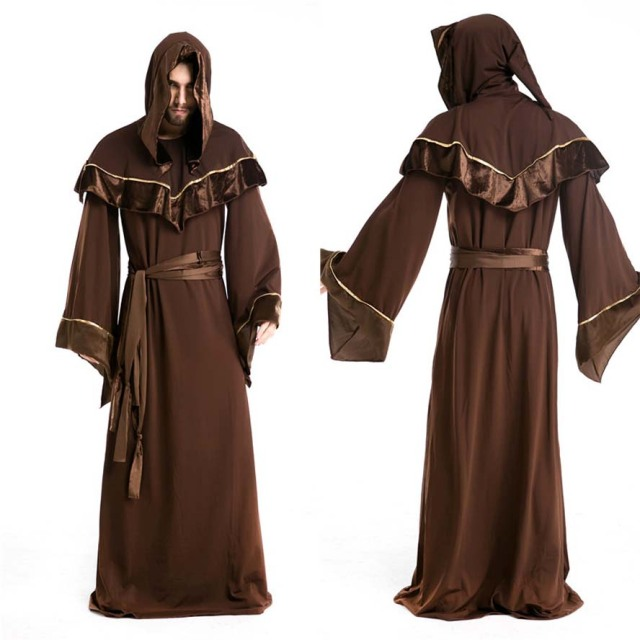 2017 halloween adult mens priest costume medieval monk christian missionary costumes robe. Black Bedroom Furniture Sets. Home Design Ideas