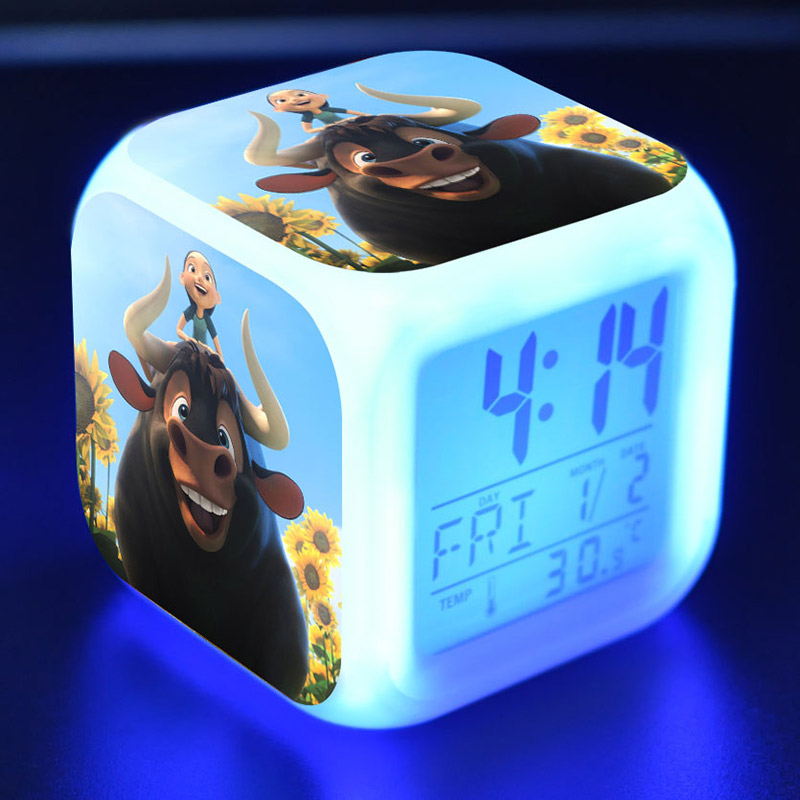 Ferdinand Anime Figurine LED Alarm Clock Flash Color Changing Touch Light Ferdinand bull Figure Toys for Children