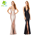 2017 Summer Long Dress Fashion Sequins Sleeveless V-Neck Women Bodycon Dress Sexy Split Party Dresses Vestido De Festa  ja758