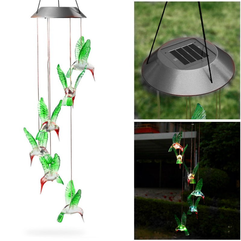 Solar Lights Wind Chimes Light Hummingbird Color LED Lights Garden Lawn Path Balcony Decoration Light Garden Hanging Light|Solar Lamps| |  - title=