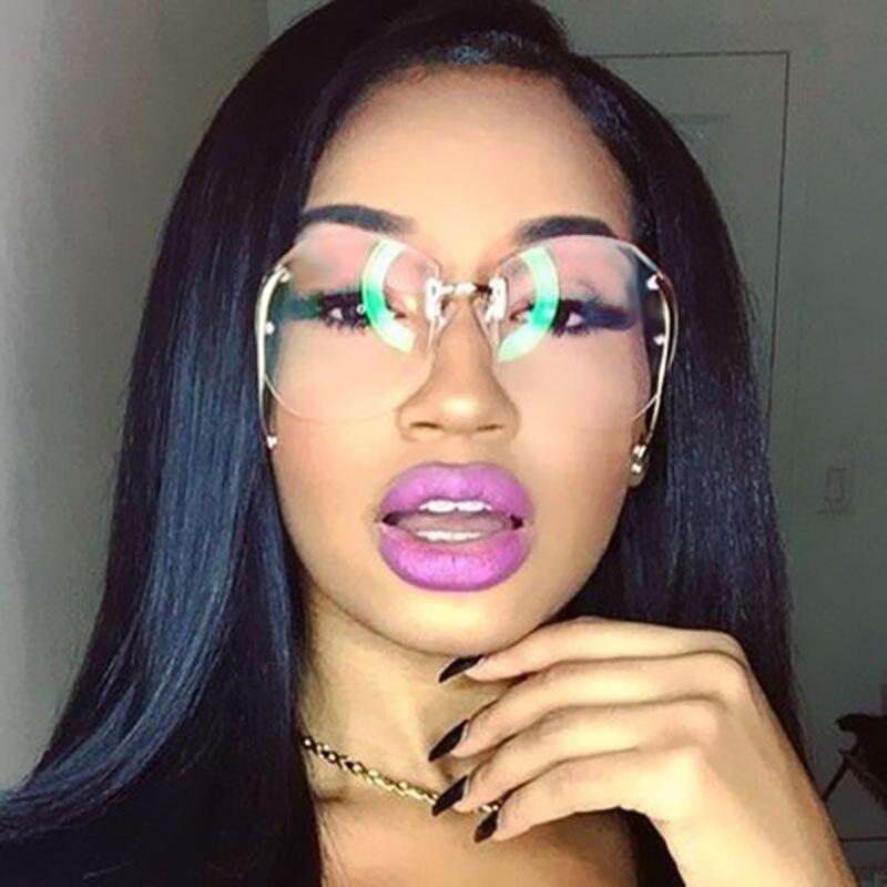 edea1b848755 Classic Clear Rimless Glasses Gold Frame Gradient Vintage Sunglass Women  Men UV400 Oversized eyeglass Transparent Shades
