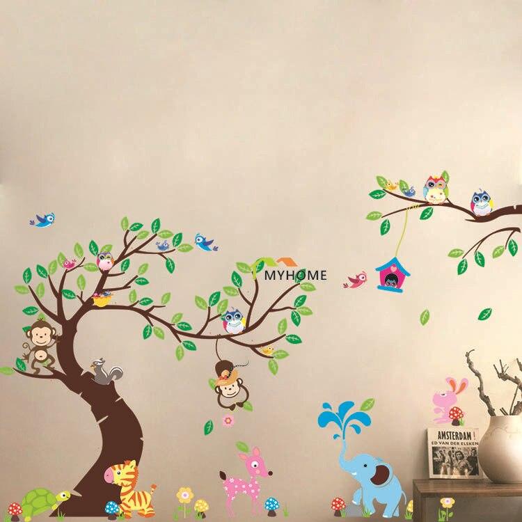 Large Size (3pcs/<font><b>set)</b></font> World of Animals Cartoon Monkey Owl Wall <font><b>Stickers</b></font> Tree Wall Decals for Nursery Child Kids Rooms Decor