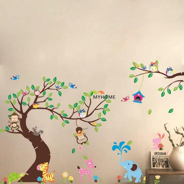 Large Size (3pcs/set) World Of Animals Cartoon Monkey Owl Wall Stickers Tree