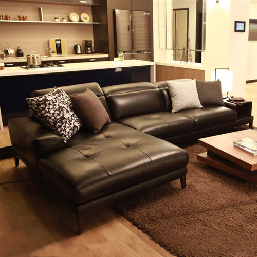 top cow real leather sofa sectional living room sofa corner home furniture couch L shape functional backrest fashionable style