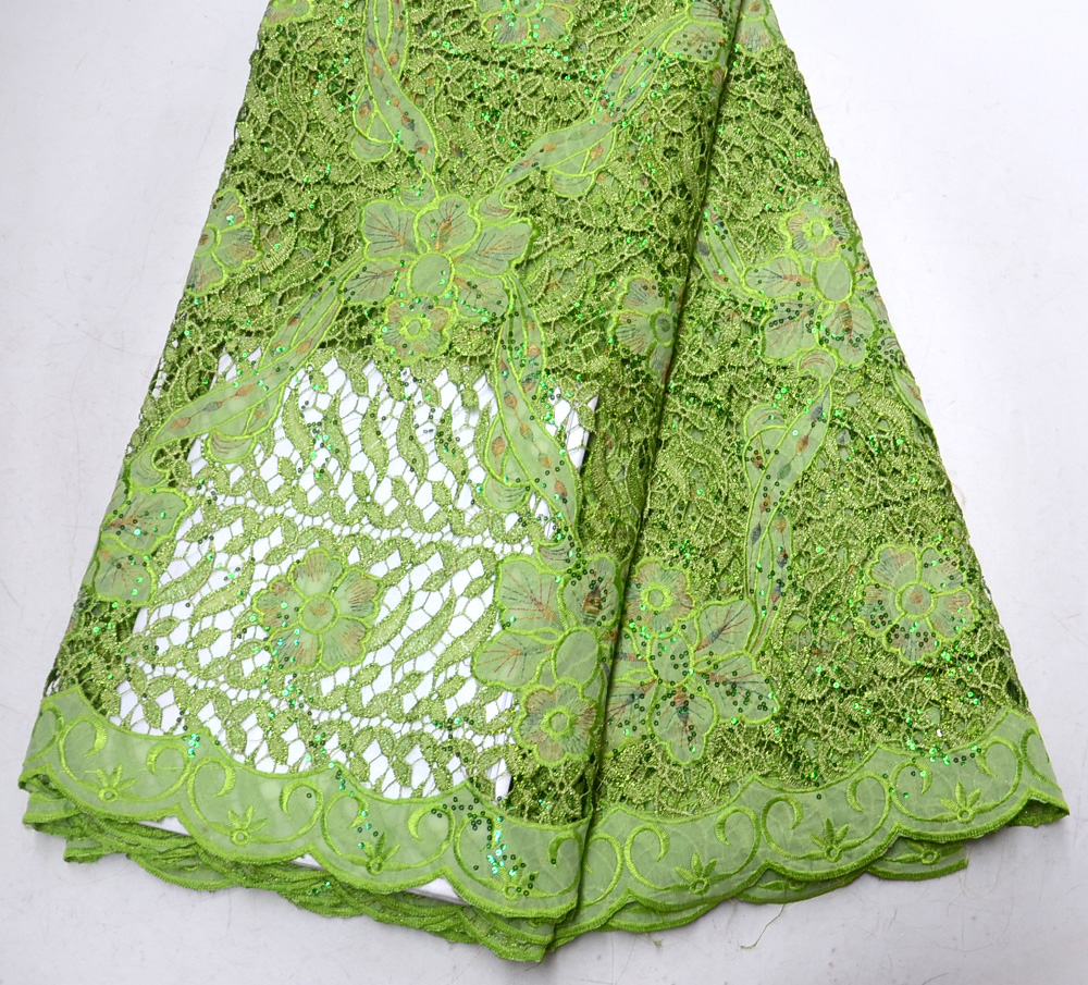 Latest Classic High Quality Nigeria design Grass Green African Guipure lace with sequins Guipure Wedding lace fabric 5 yards Latest Classic High Quality Nigeria design Grass Green African Guipure lace with sequins Guipure Wedding lace fabric 5 yards