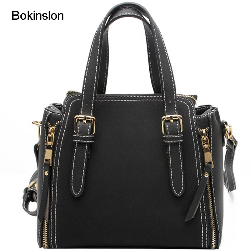 Bokinslon Handbags Woman Solid Color PU Leather Ladies Shoulder Bags Fashion Practical Women Small Square Bags