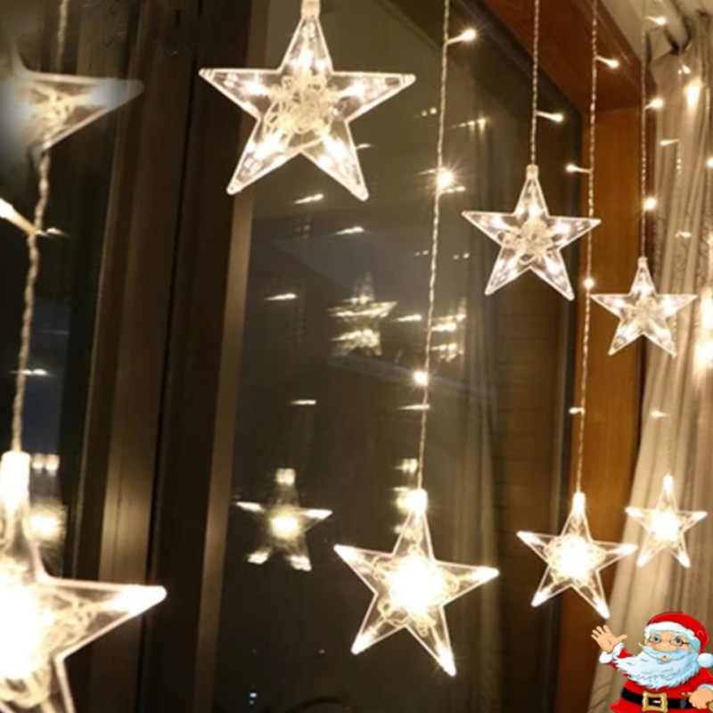 4 м рождественские светодиодные фонари AC 220 V Романтический Фея Звезда светодиодный Шторы строка освещение на праздник свадебный венок вечерние украшения