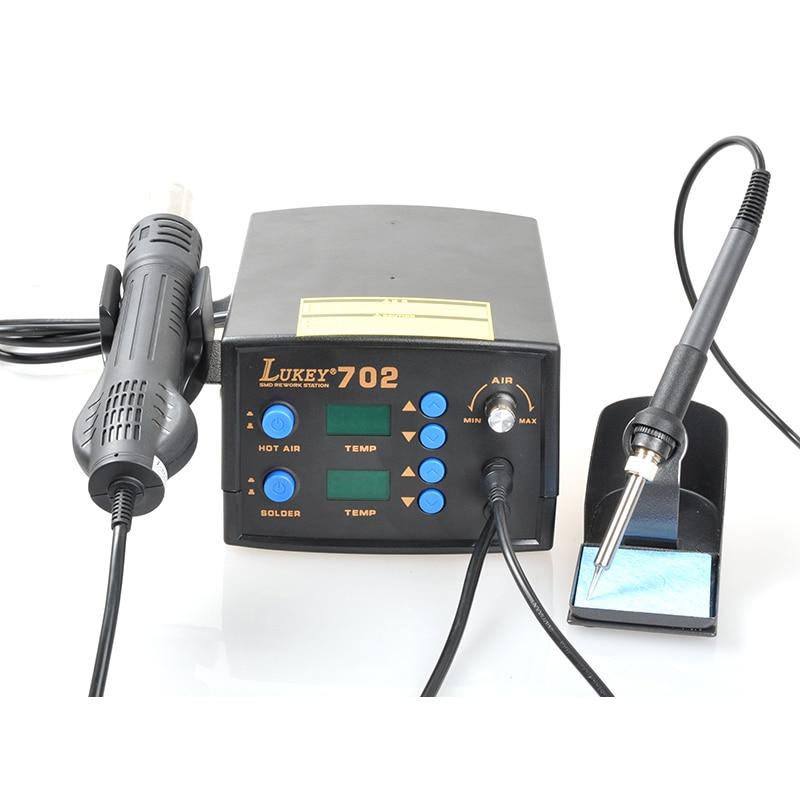 Tools : Lukey 702 Digital Regulatable Soldering Station Hot Air Gun Solder Iron 2 In 1 Adjustable Welding Set For Phone PCB Desoldering