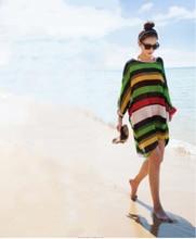 Tropical stripe Printed Kimono Ladies Summer Style Summer Dress Beach Cove r Up Pareo Cove r Up Beachwear