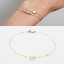 fuyo Fashion Gold Color Letter Bracelet & Bangle For Women Adjustable Name Bracelets Jewelry Female Gift Pulseras Mujer цена
