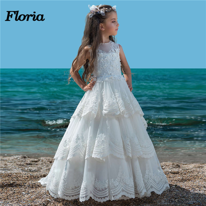 2018 White Lace   Flower     Girl     Dresses   For Weddings Vestidos daminha Kids Evening Pageant Gowns First Communion   Dresses   For   Girls
