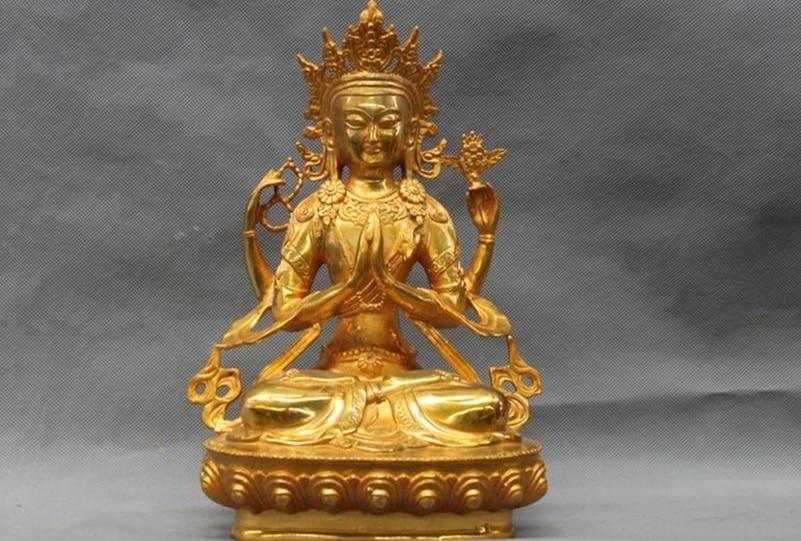 11Tibet Buddhist Bronze Copper gilt Four Arms Chenrezig Kwan-Yin Bodhisattva a 051811Tibet Buddhist Bronze Copper gilt Four Arms Chenrezig Kwan-Yin Bodhisattva a 0518