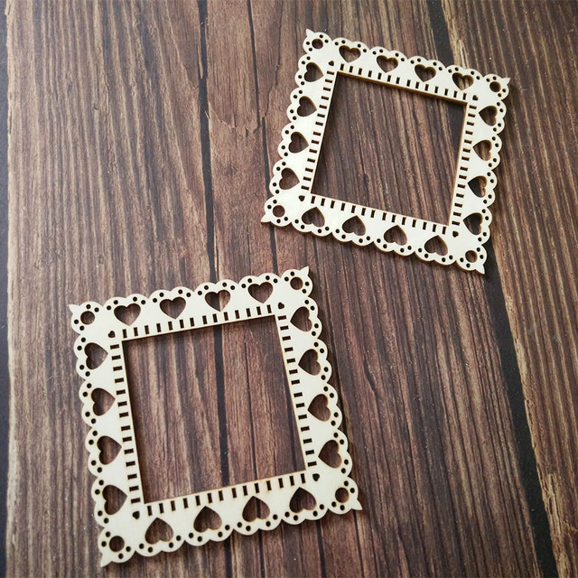 10pcs Laser Cut Unfinished Wooden Heart Border Frame Home Wall Decor ...