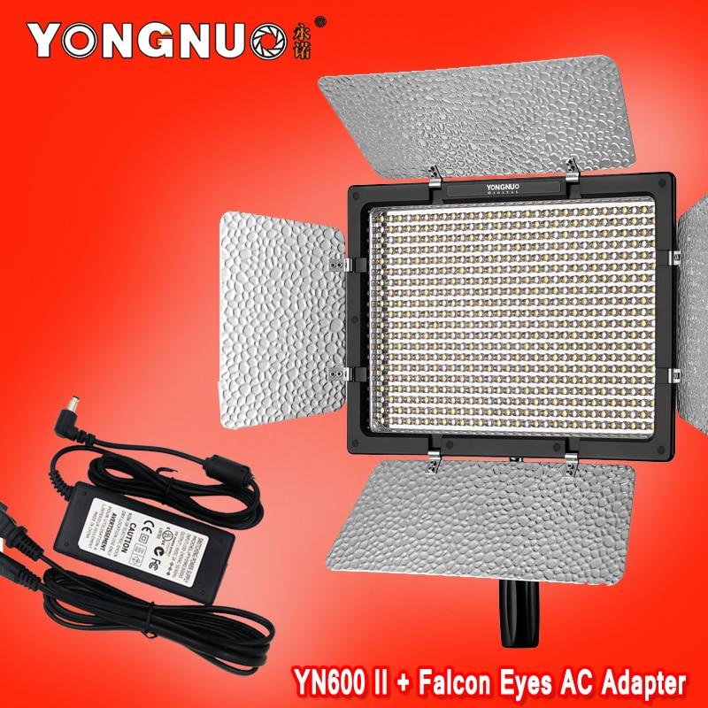 Yongnuo YN600 II YN600L II 5500K LED Video Light + Falcon Eyes AC Adapter Set Support Remote Control by Phone App for Interview falcon eyes l 2440st