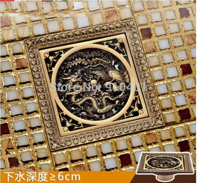 ФОТО Hot Sale Wholesale And Retail Promotion Dragon Art Antique Brass 12*12cm Bathroom Shower Drain Grate Waste Floor Drain