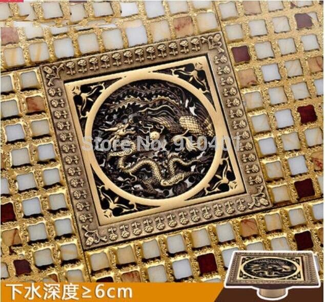 ФОТО Hot Sale Wholesale And Retail Promotion Dragon Art Antique Brass 12*12cm Bathroom Shower Drain Grate Waste Floor Drain