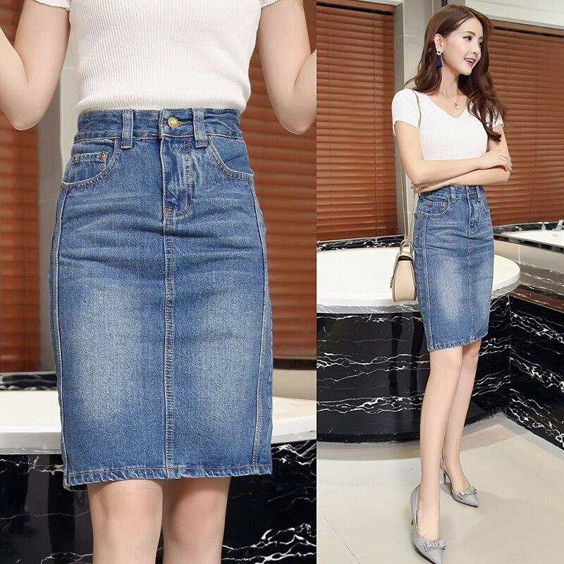 2019 New Summer Solid Color Denim Skirt Womens High Waist Casual A-Line Denim Distressed Bodycon Jean Skirt Korean Skirts Womens