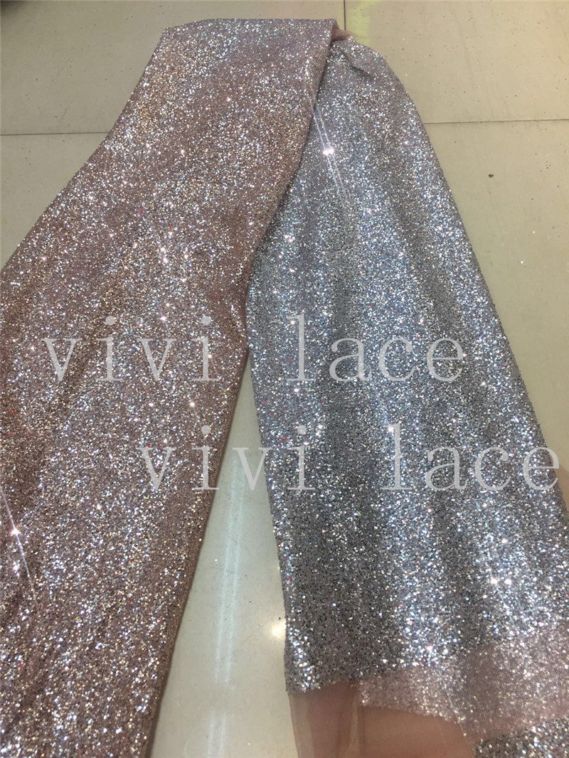 stock 5yards f889  nude gold mix silver color dot dobby hand print sparkle  glued glitter 07820e14fc81