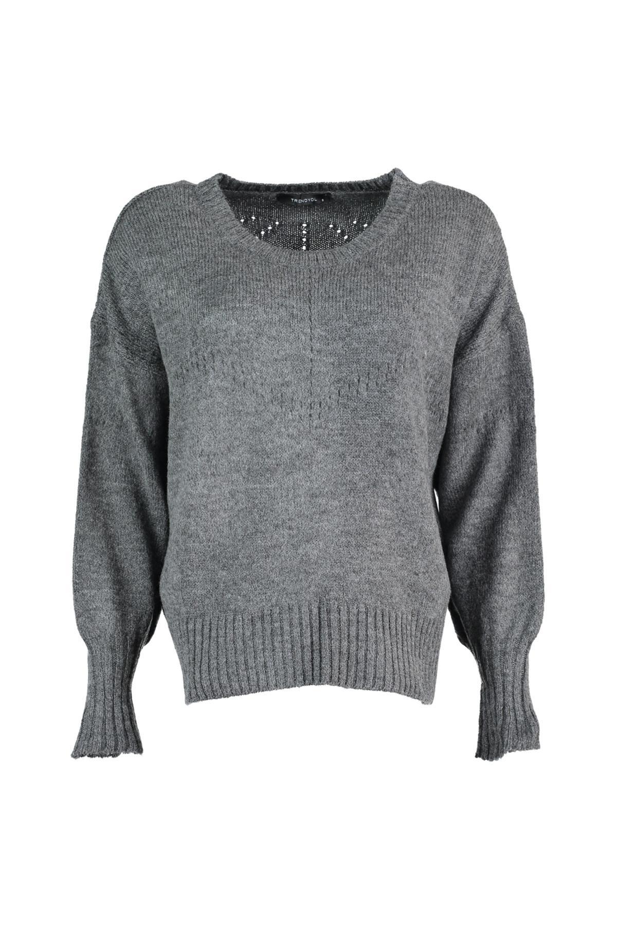 Trendyol WOMEN-Anthracite Mesh Detayl? Knitwear Sweater TWOAW20ZA0006
