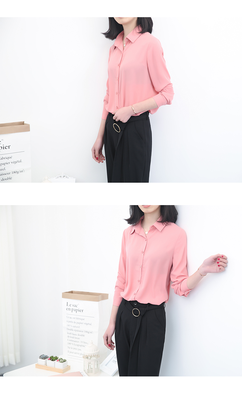 Women's Classic Shirt Chiffon Blouse Loose Long Sleeve Casual Shirts Lady Simple Style Tops 33