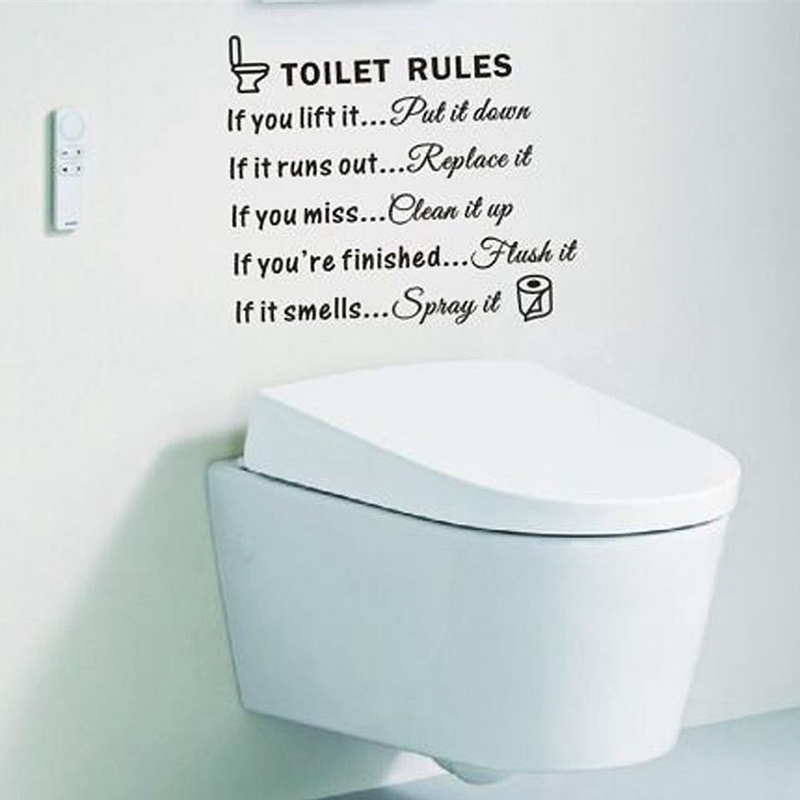 buy free shipping diy removable toilet rules wall sticker vinyl art decal. Black Bedroom Furniture Sets. Home Design Ideas
