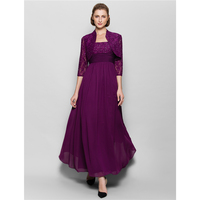 LAN TING BRIDE A Line Halter Ankle Length Chiffon Lace Mother of the Bride Dress with Beading Lace Ruching